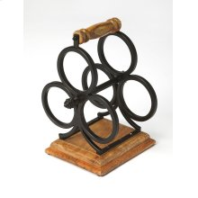 From storing your favorites vintages to lending an elegant accent to your kitchen or dining ensemble, this Industrial wine rack offers style and function to your home. Made from wrought iron and Mango wood, it features subdued appearence and a carrying ha