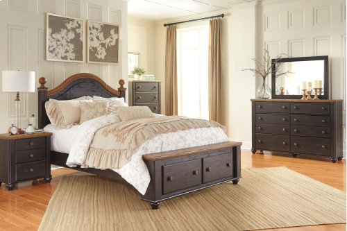 Queen Bed w/ Storage Footboard