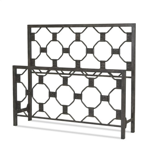 Baxter Metal Headboard and Footboard Bed Panels with Geometric Octagonal Design, Heritage Silver Finish, Queen