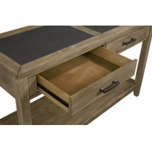 Console/Sofa Table - Sandstone/Charcoal Gray Ceramic Tile Finish