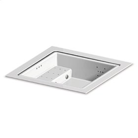 Built-in fiberglass minipool with skimming lip. Seat with blower 2 dorsal whirlpool and 1 leg linear whirlpool systems RGB LED spot lamp ozonator electrical heating system. For 3/4 persons. White colour.