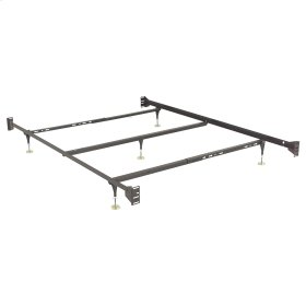Fashion Bed Rails 750 Brass Keyslot Bed Frame with Bolt-On Headboard Brackets and (5) Adjustable Leg Glides, Queen