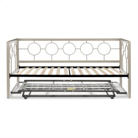 Astoria Complete Metal Daybed with Euro Top Spring Support Frame and Pop-Up Trundle Bed, Champagne Finish, Twin