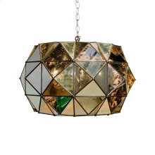 Antique Mirror Faceted Pendant. Uses Three 40w Candelabra Base Bulbs. 3' Matching Chain Included. Additional Chain May Be Purchased Upon Request.