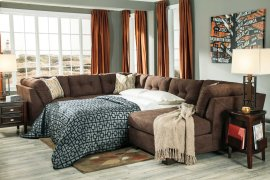 Delta City 3-Pc Sectional RAF Corner Chaise w/ Armless Full Sleeper and Sofa - Chocolate Collection