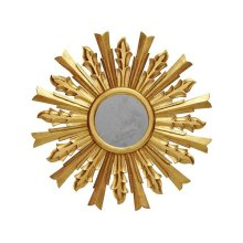Handcarved Starburst Mirror In Gold Leaf. Center Is Antique Mirror.