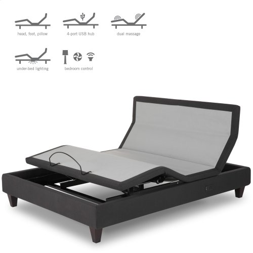 P-232 Furniture Style Adjustable Bed Base with Upholstered Frame and LPConnect, Charcoal Black Finish, Queen