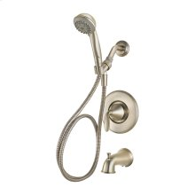 Brushed Nickel 1-Handle Tub & Shower Faucet with Hand Held Shower