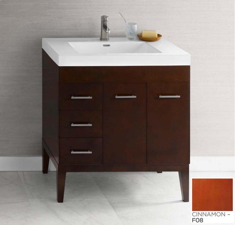 """Venus 31"""" Bathroom Vanity Base Cabinet in Cinnamon - Doors on Right, Wood Legs"""