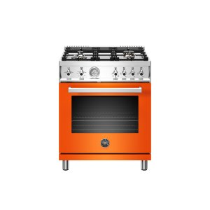 Bertazzoni30 inch All Gas Range, 4 Brass Burner Arancio