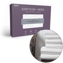 Sleep Plush + White 3-Piece Microfiber 500g Bed Sheet Set with Wrinkle Free Performance Fabric, Twin XL