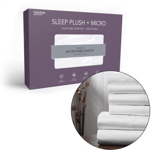 Sleep Plush + White 3-Piece Microfiber 500g Bed Sheet Set with Wrinkle Free Performance Fabric, Twin XL