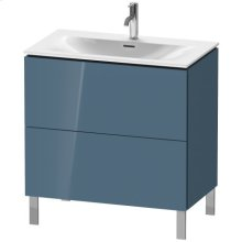 Vanity Unit Floorstanding, Stone Blue High Gloss Lacquer