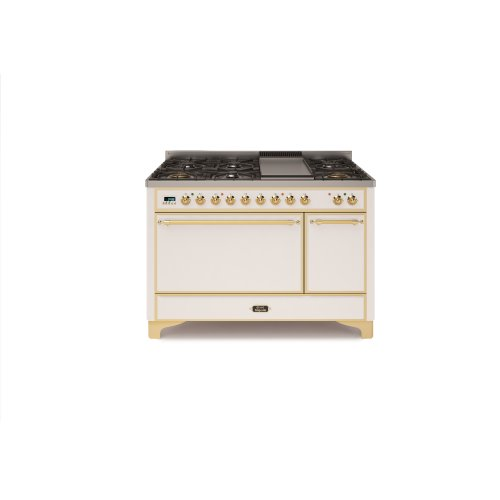 "True White with Brass trim 48"" - 7 Burner Dual Fuel Range + Griddle"