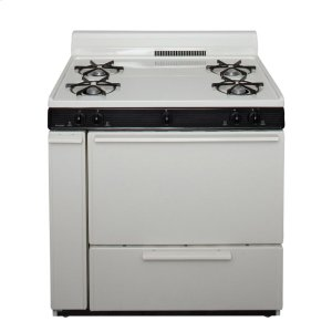 Premier36 in. Freestanding Battery-Generated Spark Ignition Gas Range in Biscuit