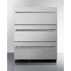 SummitCommercially Approved Three-drawer Refrigerator In Stainless Steel for Built-in Undercounter Use, With Thin Handles