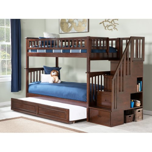 Columbia Staircase Bunk Bed Twin over Twin with Raised Panel Trundle Bed in Walnut