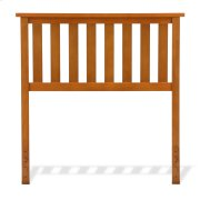 Belmont Wood Headboard Panel with Flat Top Rail and Slatted Grill Design, Maple Finish, Twin Product Image