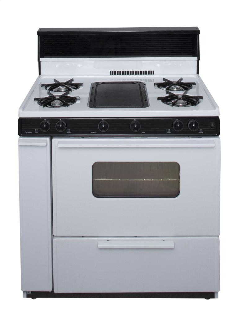 36 in. Freestanding Battery-Generated Spark Ignition Gas Range in White  WHITE