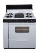 36 in. Freestanding Battery-Generated Spark Ignition Gas Range in White Product Image