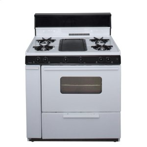 Premier36 in. Freestanding Battery-Generated Spark Ignition Gas Range in White