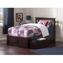 Mission Twin Flat Panel Foot Board with 2 Urban Bed Drawers Espresso