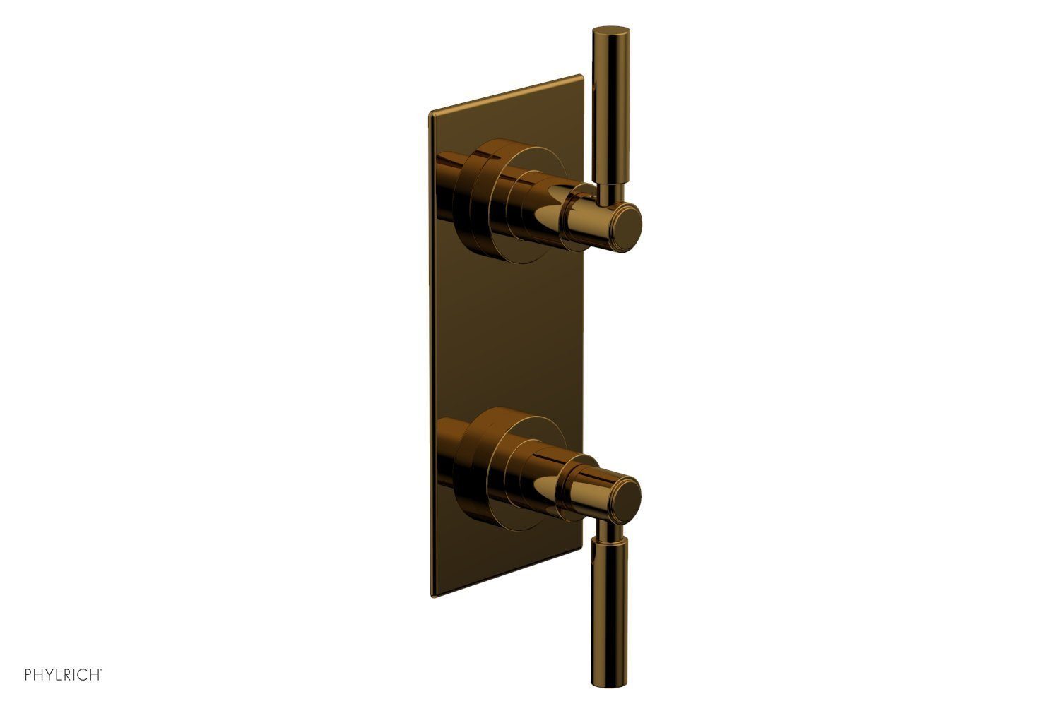 """BASIC 1/2"""" Thermostatic Valve with Volume Control or Diverter Lever Handles 4-344 - French Brass"""