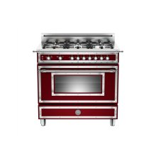 36 inch All Gas Range, 6 Brass Burner Matt Burgundy