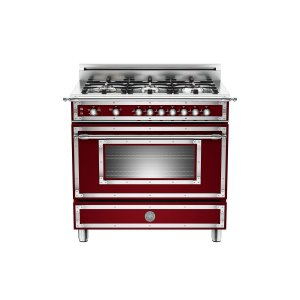 36 inch All Gas Range, 6 Brass Burner Matt Burgundy - MATT BURGUNDY