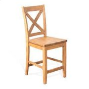 "24""H Crossback Barstool, Wood Seat Product Image"