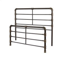 Everett Metal Headboard and Footboard Bed Panels with Industrial Pipe Design, Brushed Copper Finish, Queen