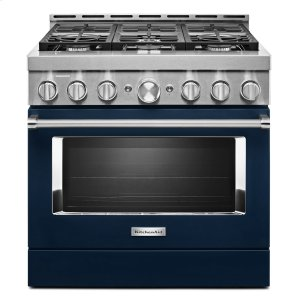 KitchenAidKitchenAid® 36'' Smart Commercial-Style Gas Range with 6 Burners Ink Blue