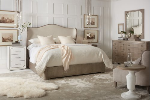 Bedroom Modern Romance King Upholstered Shelter Bed
