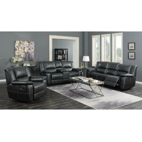Lee Transitional Black Leather Reclining Three-piece Living Room Set