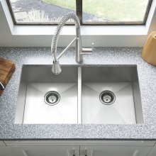 """Edgewater 33x22"""" ADA Double Bowl Stainless Steel Kitchen Sink  American Standard - Stainless Steel"""