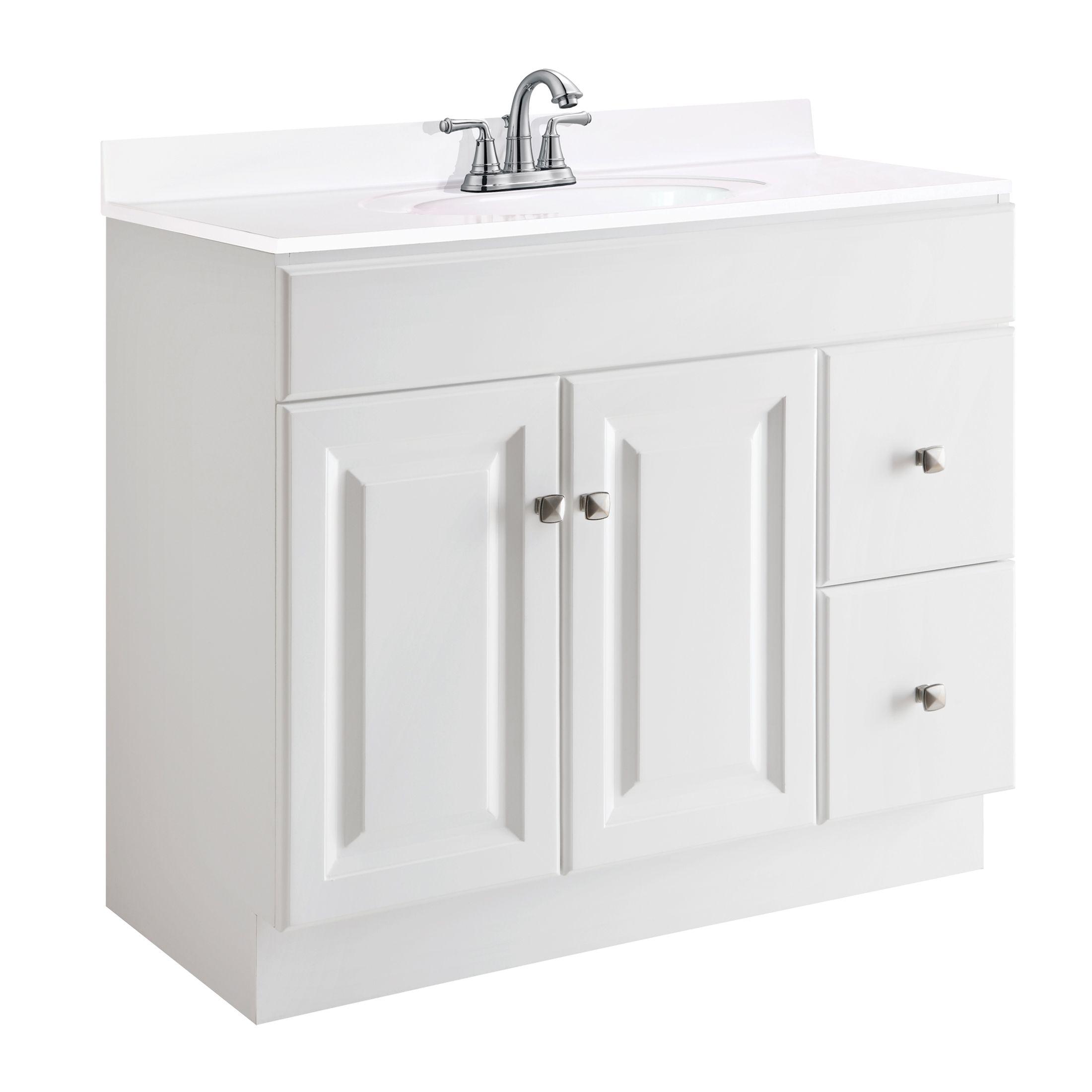 """Wyndham 2-Door 2-Drawer Semi-Gloss Vanity 36"""", White #545095"""