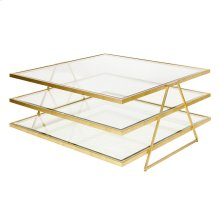 3-tier Gold Leafed Coffee Table With Beveled Glass.