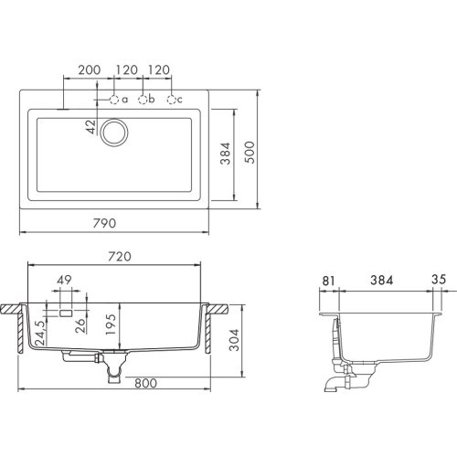 Polaris Built-in sink Signus N-100 XL