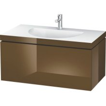 Furniture Washbasin C-bonded With Vanity Wall-mounted, Olive Brown High Gloss Lacquer