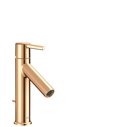Polished Bronze Single lever basin mixer 100 with lever handle and pop-up waste set