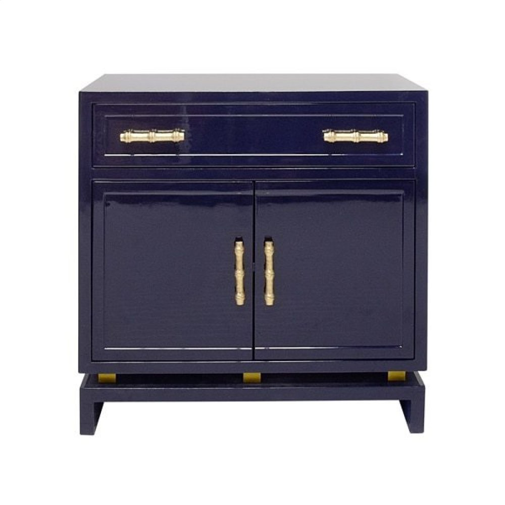 Navy Lacquer (1) Drawer- 2 Door Cabinet With Gold Leafed Bamboo Hardware and Gold Leafed Metal Detail On Base. Drawer Is On Glides- Interior Features One Non Adjustable Shelf.