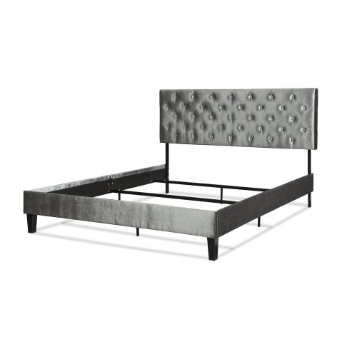 Hayworth Complete Upholstered Bed in a Box and Bedding Support System with Button-Tuft Headboard, Velvet Gray Finish, King