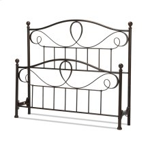 Sylvania Metal Headboard and Footboard Bed Panels with Elegant Pattern of Curves and Twists, French Roast Finish, Queen