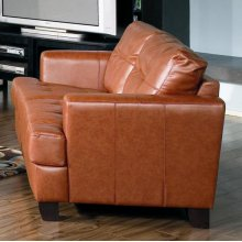 Brown Bonded Leather Love Seat