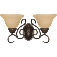 2-Light Wall Mounted Vanity Light Fixture in Sonoma Bronze with Champagne Glass
