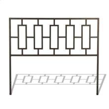 Miami Metal Headboard with Squared Tubing and Geometric Design, Coffee Finish, Queen