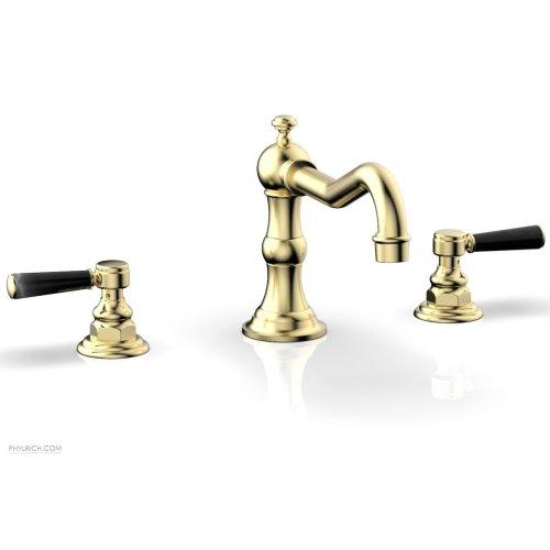 HENRI Deck Tub Set - Marble Lever Handles - 161-42 - Polished Brass Uncoated