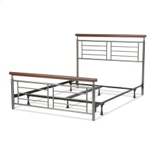 Fontane Complete Bed with Metal Geometric Panels and Rounded Cherry Top Rails, Silver Finish, Queen