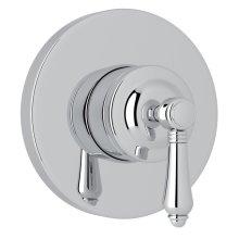 Polished Chrome Italian Bath 4-Port, 3-Way Diverter Trim with Metal Lever
