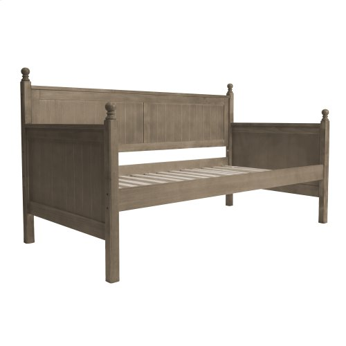 Carston Wood Daybed with Ball Finials and Roll Out Trundle Drawer, Washed Gray Finish, Twin